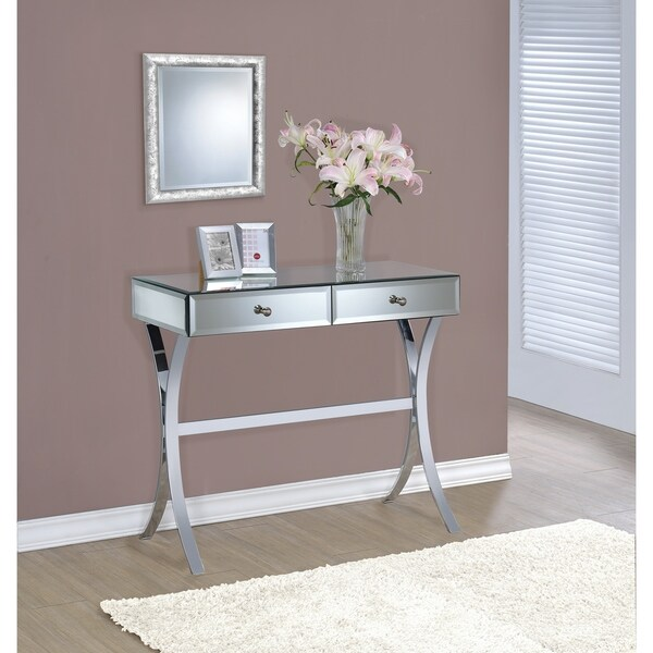 "Contemporary Mirrored Metal Console Table - 35.50"" x 15.75"" x 31.25"""