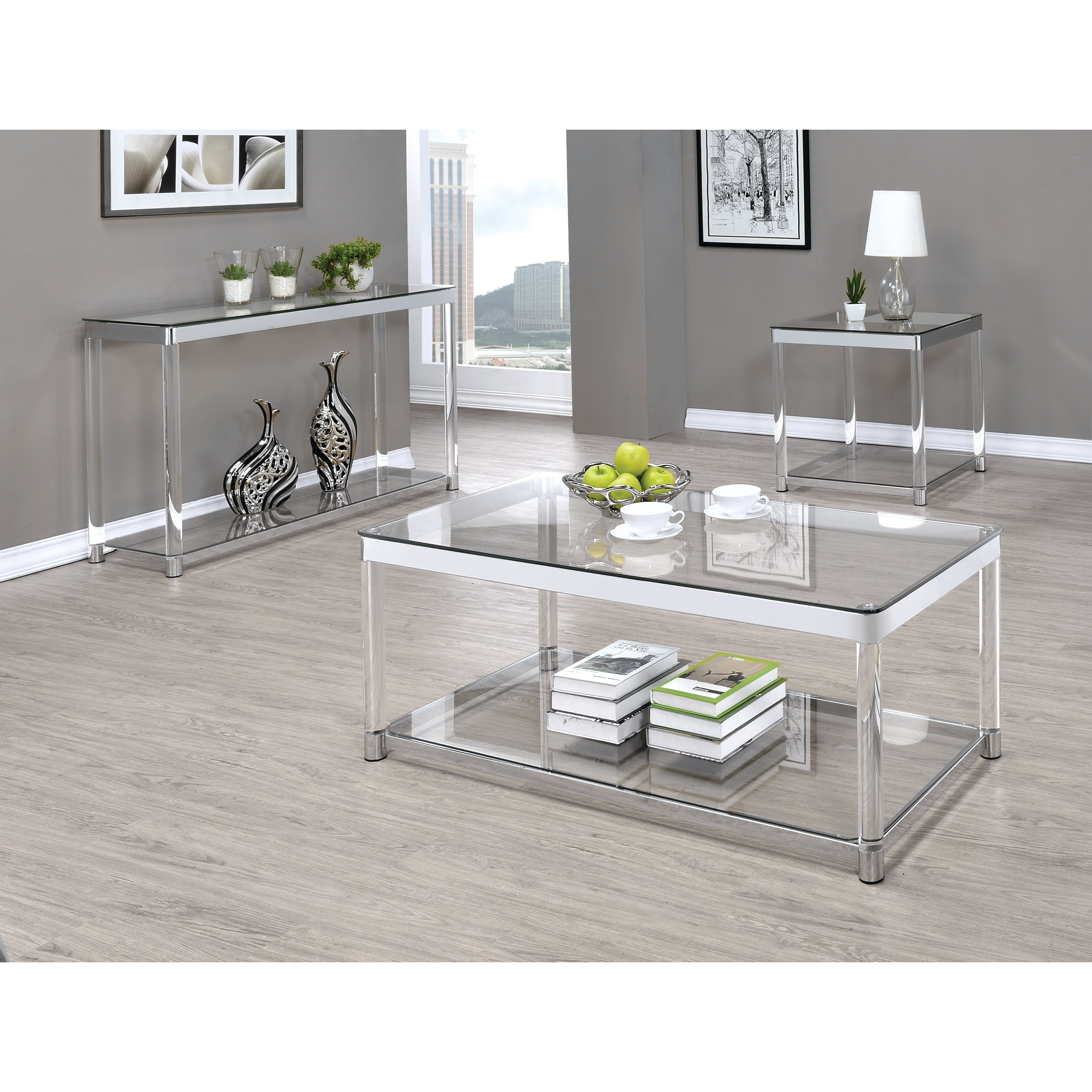 contemporary chrome glass top and acrylic legs coffee table 48 x 24 x 18 75