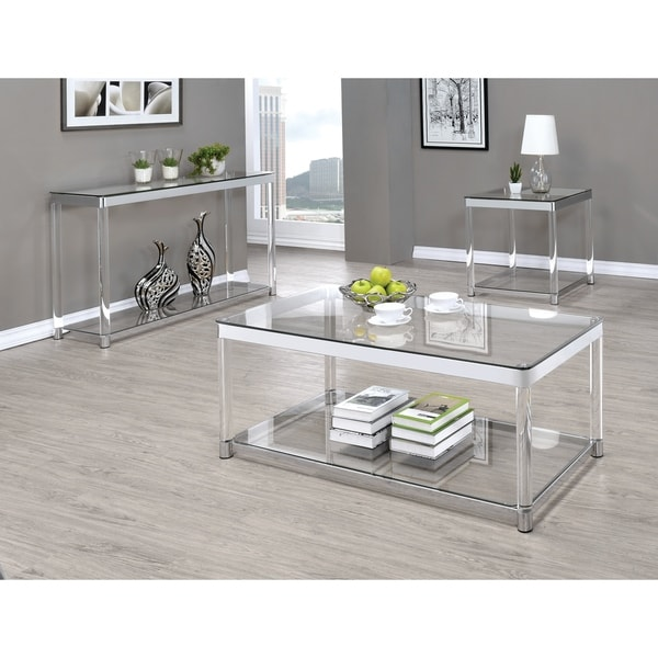 Shop Contemporary Chrome Glass Top And Acrylic Legs Coffee