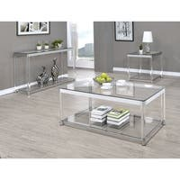 Contemporary Chrome Glass Top and Acrylic Legs Coffee Table