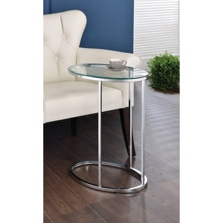 """Contemporary Glass and Chrome Snack Table - 11.25"""" x 18"""" x 24.50"""""""