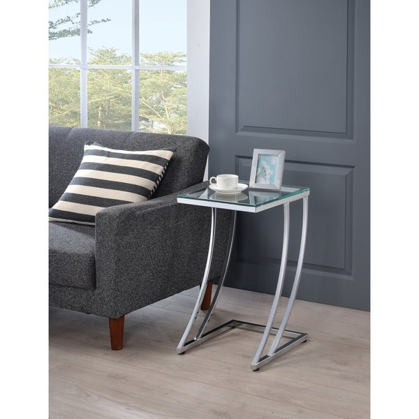 "Modern Chrome Accent Table - 13"" x 15"" x 24"""