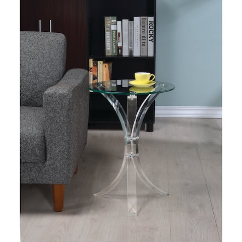 "Contemporary Clear Accent Table - 21.25"" x 18"""