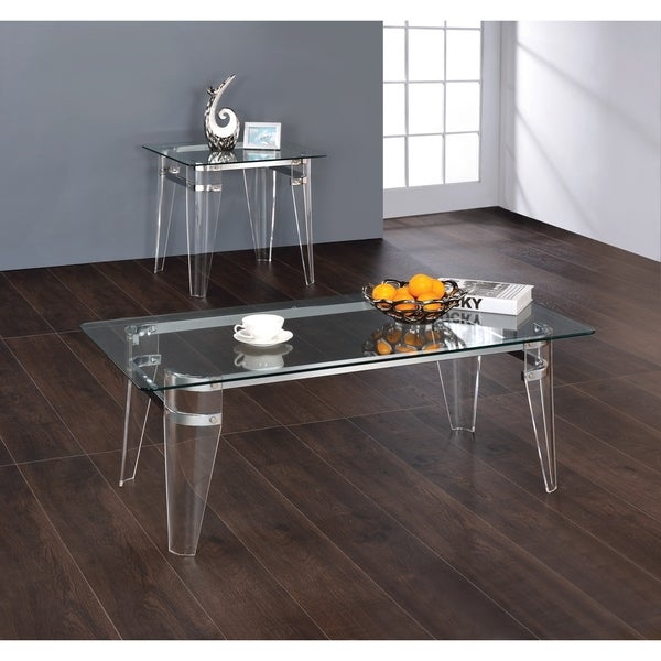 """Amaranth Glass Top End Table - 23.50"""" x 23.50"""" x 23"""""""