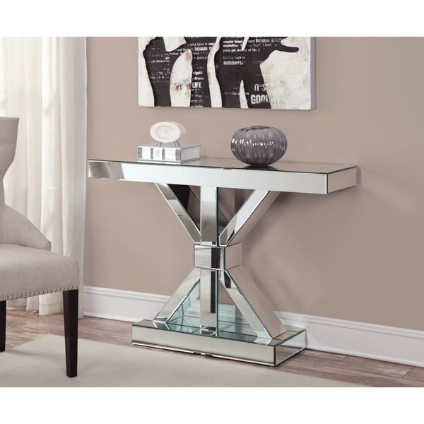 "Contemporary Thick Mirrored Console Table - 47"" x 13"" x 32.25"""