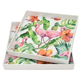 """Three Hands 1.5 """" Set Of Two Trays in Multi-Colored"""