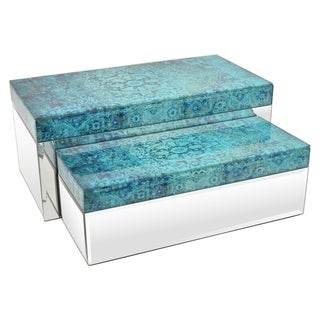 """Three Hands 6 """" Set Of Two Glass Mirrored Boxes in Blue - l14x6.75x6 * m 12x5x4 *"""