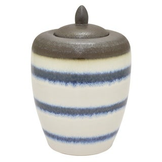 """Three Hands 14 """" Ceramic Jar With Lid in White"""