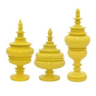 """Three Hands 8 """" Set Of Three Jars With Lid in Yellow - l6x6x8 * m 7x7x14.25 * s 8x8x12"""