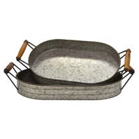 """Three Hands 3.75 """" Set Of Two Galvanized Trays in Gray"""