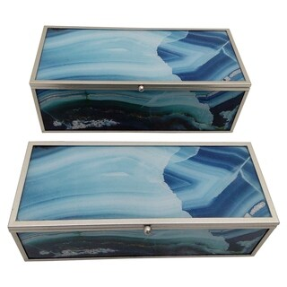 "Three Hands 3.75 "" Set Of Two Metal Framed Boxes in Blue - l11x5x3.75 * m 10x4x3.25 *"