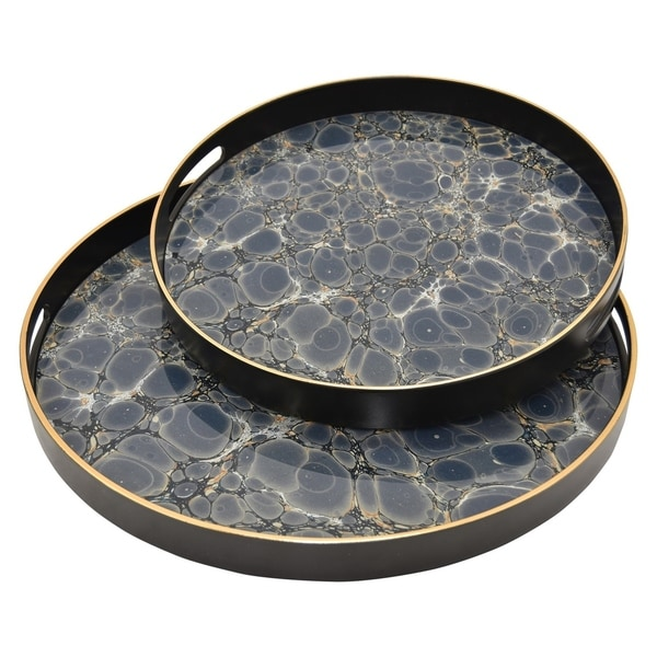 """Three Hands 1.5 """" Set Of Two Trays in Blue"""