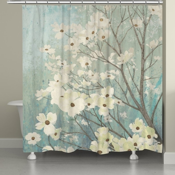 Laural Home Dogwood Floral Shower Curtain - Blue/White