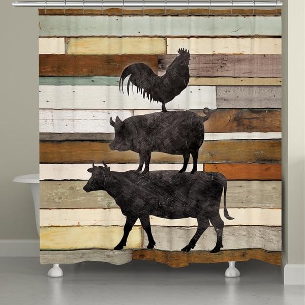 Laural Home Farm Animals Shower Curtain