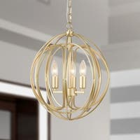 Nelpin Soft Brushed Gold 3-Light Globe Cage Pendant
