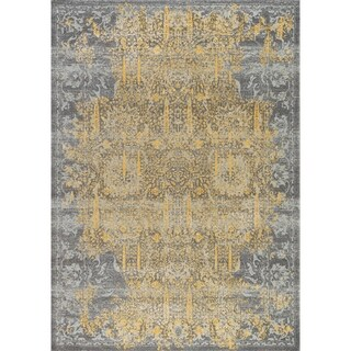 "Chelsea Design Grey/Gold Machine Made/Power Loom Rug (5' 0"" X 7' 6"") - 5' x 8'"