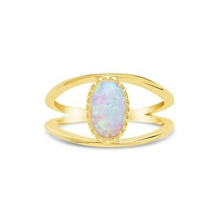 Sterling Forever - Gold Vermeil Created Opal Open Band Ring