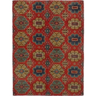 eCarpetGallery Hand-knotted Mystique Red Wool Rug - 6'3 x 9'2