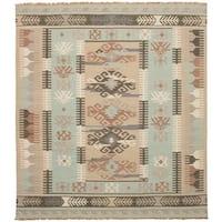 eCarpetGallery  Flat-weave Esme 300059 Khaki, Light Blue  Wool Kilim - 8' x 10'