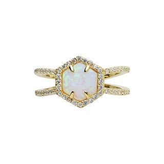Sterling Forever - Gold Vermeil Created Opal Double Band Crisscross Ring