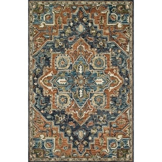 """Hand-hooked Wool Navy/ Rust Traditional Medallion Rug - 7'9"""" x 9'9"""""""