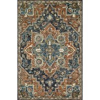 Hand-hooked Wool Navy/ Rust Traditional Medallion Rug - 7'9 x 9'9