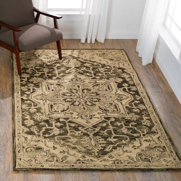 "Hand-hooked Wool Grey Traditional Medallion Rug - 7'9"" x 9'9"""