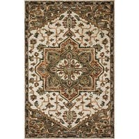 """Hand-hooked Wool Ivory/ Taupe Traditional Medallion Rug - 2'3"""" x 3'9"""""""