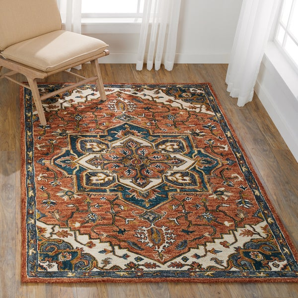 """Hand-hooked Rust/ Navy Traditional Medallion Wool Area Rug - 9'3"""" x 13'"""