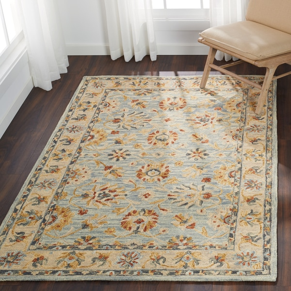 "Hand-hooked Wool Light Blue Traditional Floral Rug - 7'9"" x 9'9"""