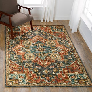 "Hand-hooked Wool Beige/ Grey Traditional Medallion Rug - 7'9"" x 9'9"""