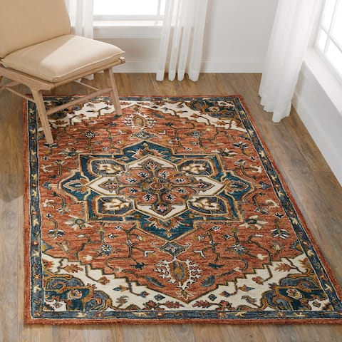 Alexander Home Madeline Medallion Wool Hand-Hooked Star Traditional Rug