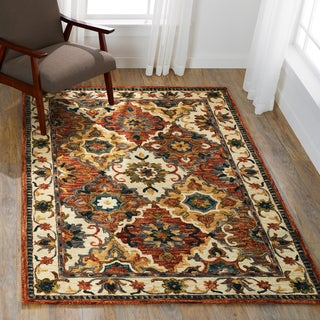 """Hand-hooked Wool Multi/ Ivory Traditional Floral Rug - 5' x 7'6"""""""