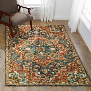 Hand-hooked Wool Navy/ Rust Traditional Medallion Rug - 5' x 7'6""