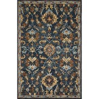 Hand-hooked Wool Navy Blue/ Brown Traditional Floral Rug - 2'3 x 3'9