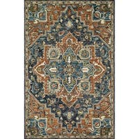 "Hand-hooked Wool Navy/ Rust Traditional Medallion Rug - 3'6"" x 5'6"""