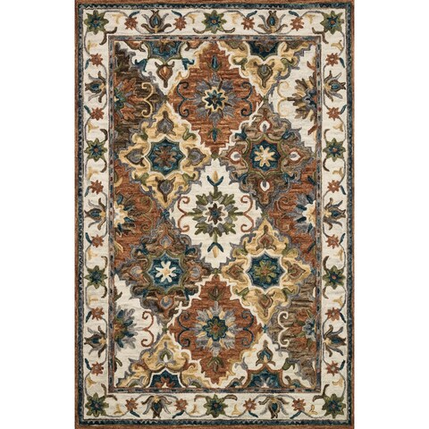 """Hand-hooked Wool Multi/ Ivory Traditional Floral Rug - 3'6"""" x 5'6"""""""