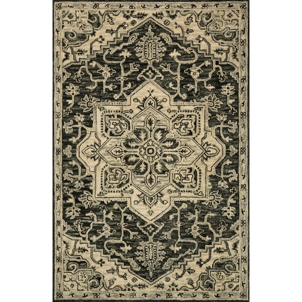 """Hand-hooked Wool Grey Traditional Medallion Rug - 3'6"""" x 5'6"""""""