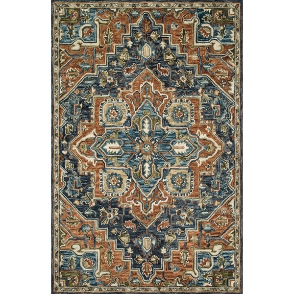 Shop Hand Hooked Wool Navy Rust Traditional Medallion Rug