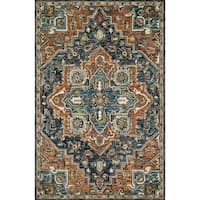 Hand-hooked Wool Navy/ Rust Traditional Medallion Rug - 2'3 x 3'9