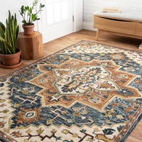 """Hand-hooked Wool Blue/ Rust Traditional Medallion Rug - 2'3"""" x 3'9"""""""