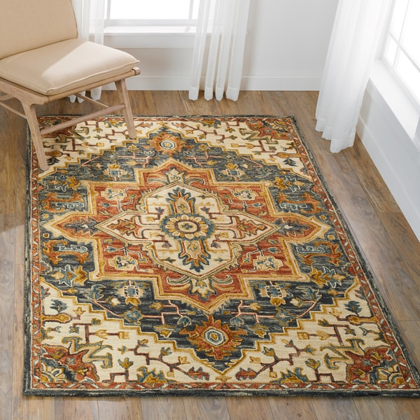 """Hand-hooked Wool Blue/ Rust Traditional Medallion Rug - 5' x 7'6"""""""