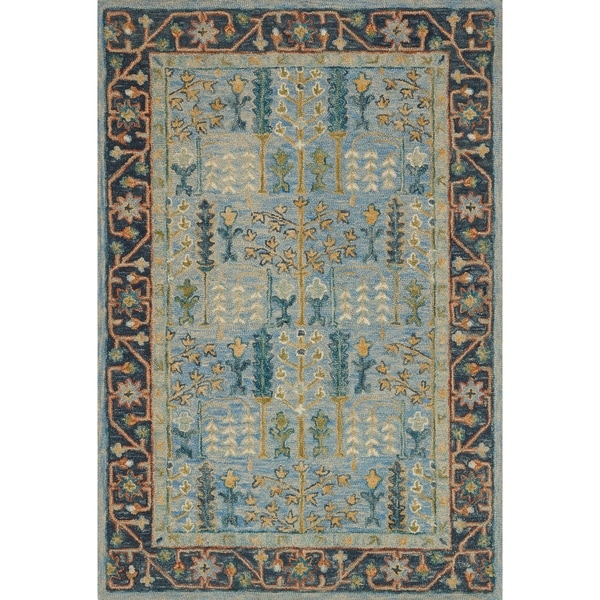 """Hand-hooked Wool Blue Traditional Floral Rug - 2'3"""" x 3'9"""""""