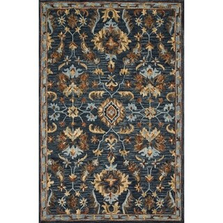 """Hand-hooked Wool Navy Blue/ Brown Traditional Floral Rug - 3'6"""" x 5'6"""""""