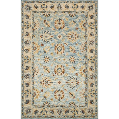 """Hand-hooked Wool Light Blue Traditional Floral Rug - 3'6"""" x 5'6"""""""