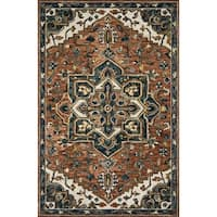 "Hand-hooked Wool Rust/ Navy Traditional Medallion Rug - 3'6"" x 5'6"""