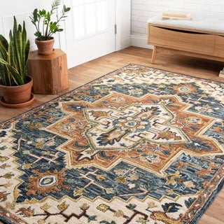 "Hand-hooked Wool Blue/ Rust Traditional Medallion Rug - 7'9"" x 9'9"""