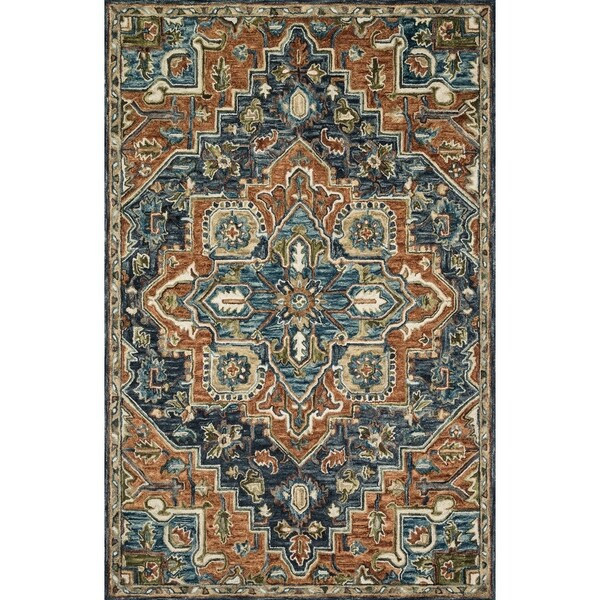 """Hand-hooked Navy/ Rust Traditional Medallion Wool Area Rug - 9'3"""" x 13'"""