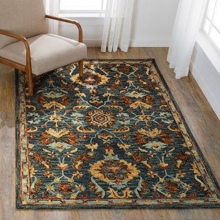 """Hand-hooked Wool Navy Blue/ Brown Traditional Floral Rug - 7'9"""" x 9'9"""""""