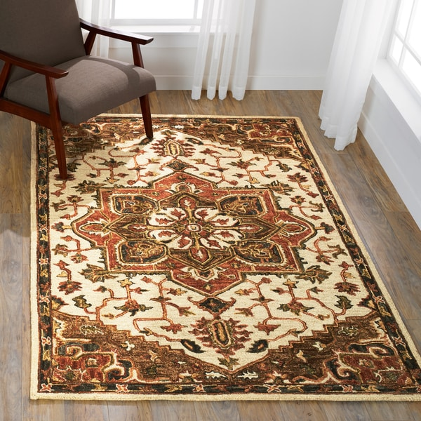 """Hand-hooked Ivory/ Taupe Traditional Medallion Wool Area Rug - 9'3"""" x 13'"""